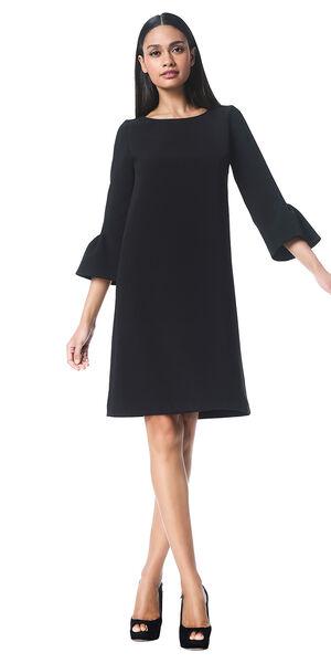 Image of LaDress Barbra a line crepe dress black