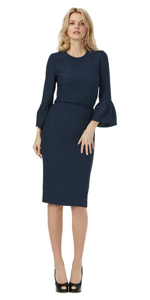 Image of LaDress Alessandra crepe satin skirt blue